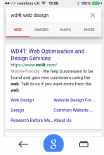 Mobile Search Results Showing Mobile Friendly Label